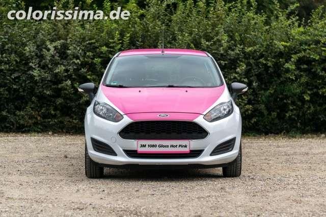 Front - Ford Fiesta Teilfolierung mit 3M 1080 Hot Gloss Pink